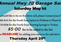 Highway 70 garage sale